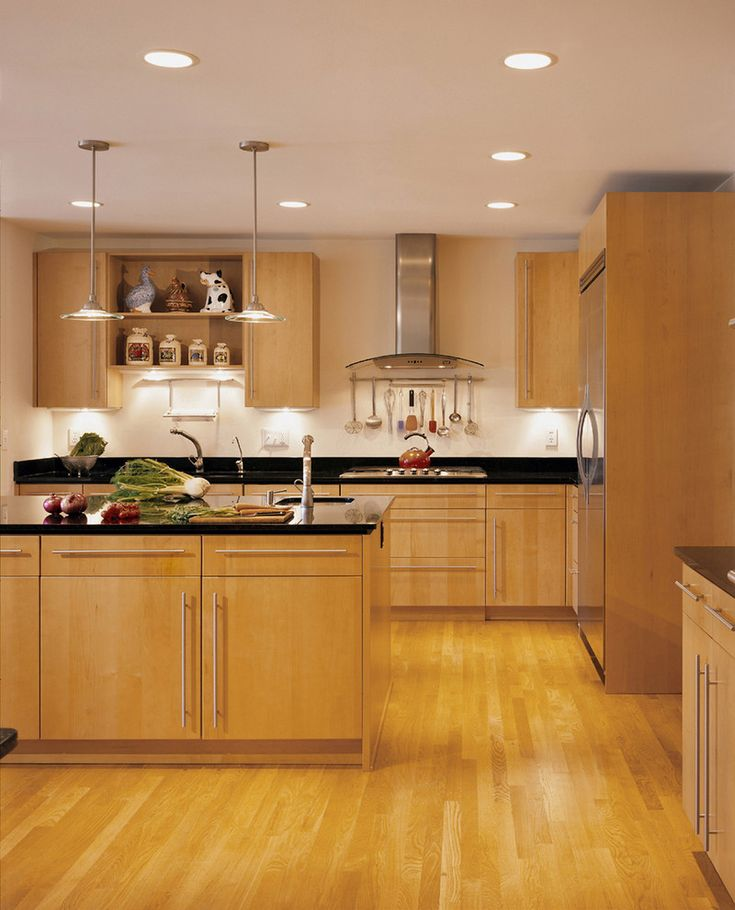 Maple Cabinets with Black Granite Countertops Contemporary ... on Backsplash For Maple Cabinets And Black Granite  id=99311