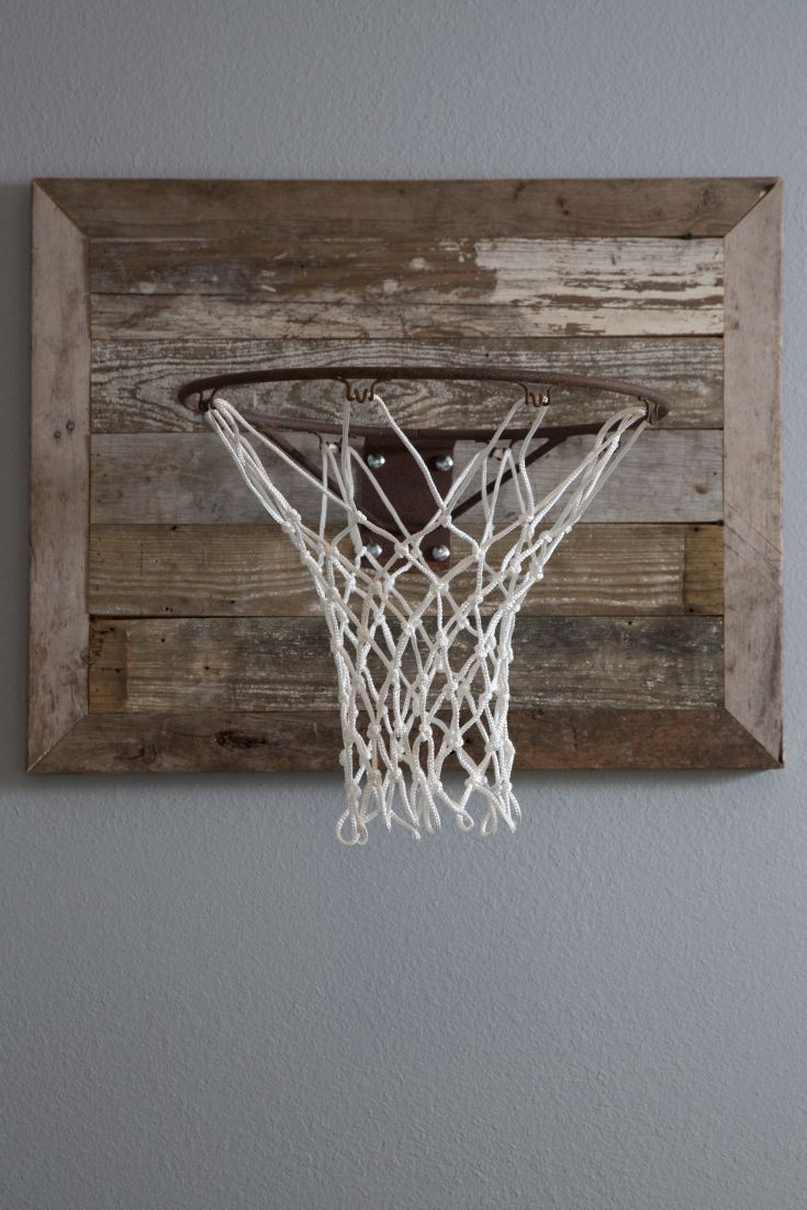 "Rustic basketball goal – how cool! As seen on HGTV's ""Fixer Upper."" Perfect for a boy's bedroom!"