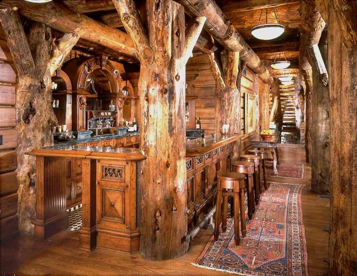 Log Home Rustic Bar With Game Room