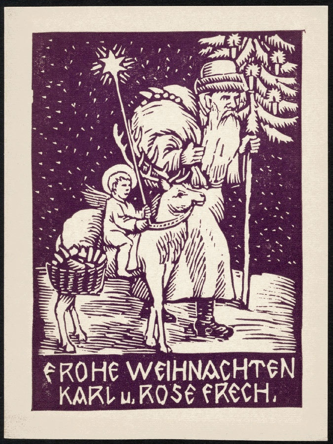 1920 Linocut Christmas Card By Painter And Graphic Artist