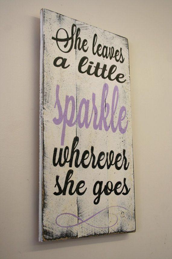 She Leaves A Little Sparkle Wherever She Goes Pallet Sign Girls Nursery Sign Lavender Nursery Decor Girls Bedroom Sign Baby Gift