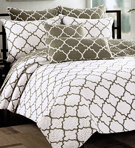Max Studio Home Quatrefoil Quilt Bedspread 3pc King