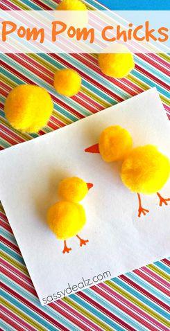 Easy Pom Pom Chicks Craft for kids #Homemade Easter card idea | http://www.sassydealz.com/2014/04/easy-pom-pom-chicks-craft-kids.html