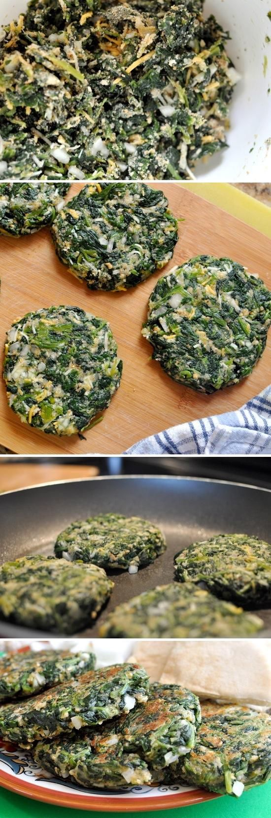 """spinach """"burgers"""". These are high in protein, low in carbs and absolutely delicious."""