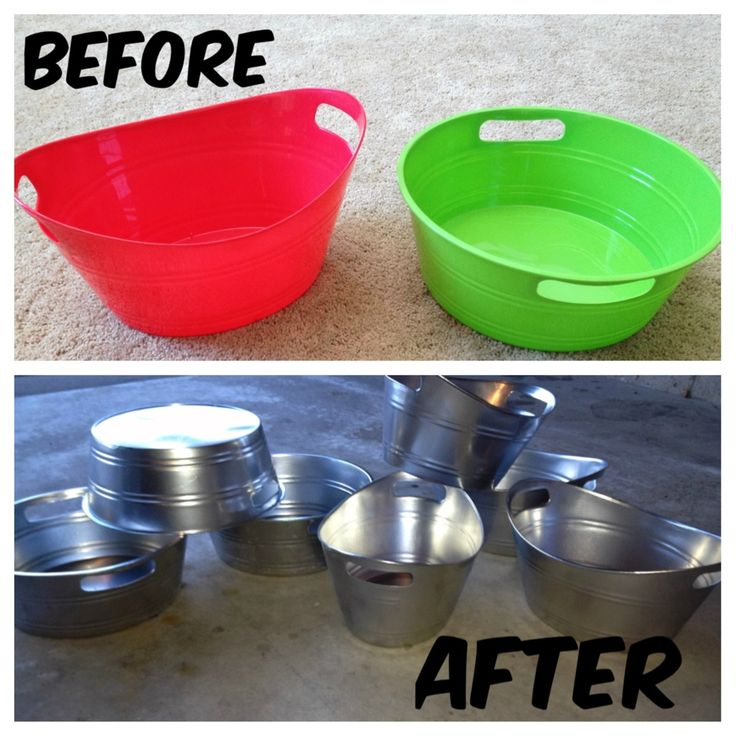 Take plastic bins from the dollar store and upgrade them using metallic spray pa