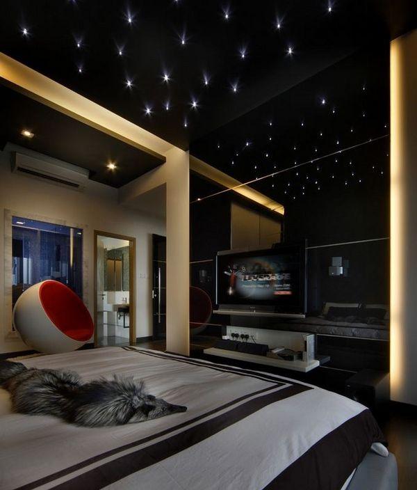 Teen Bedroom Dark Colors Starry Sky Modern Interior Design