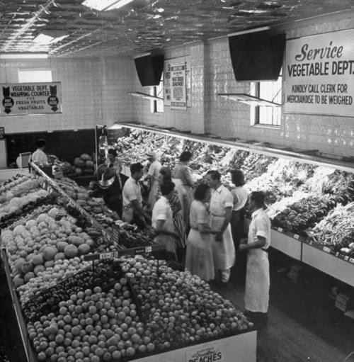 Shoppers In The Produce Department Of A 1940s A Grocery