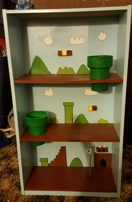 Hand Painted Mario Playset Made Out Of An Old DVD Shelf