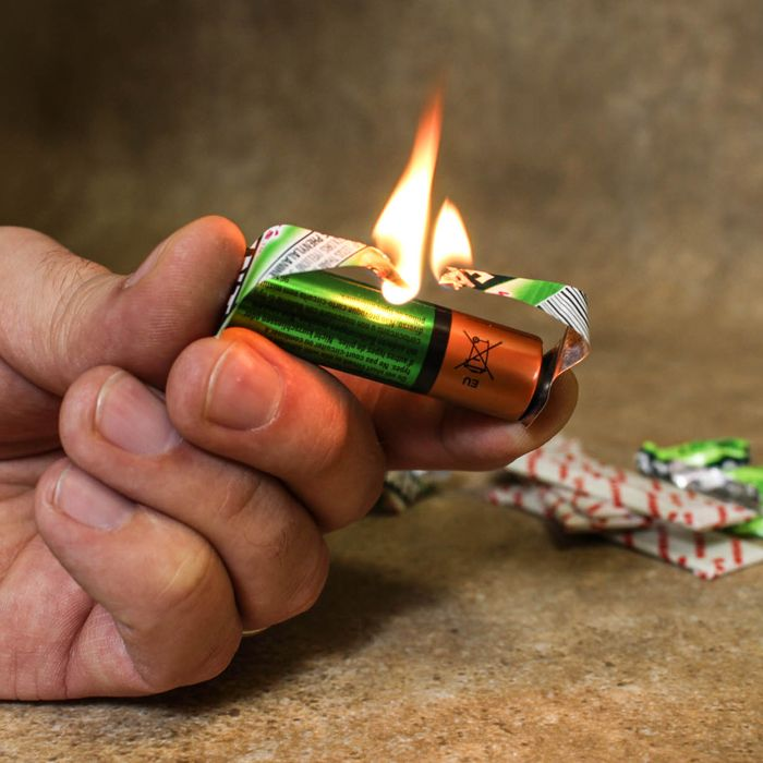 Chewing Gum and a battery can be used Fire Starter – Use the foil-backed wrapper to short circuit an AA battery and create a