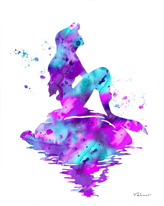 Watercolor Aqua And Purple Mermaid