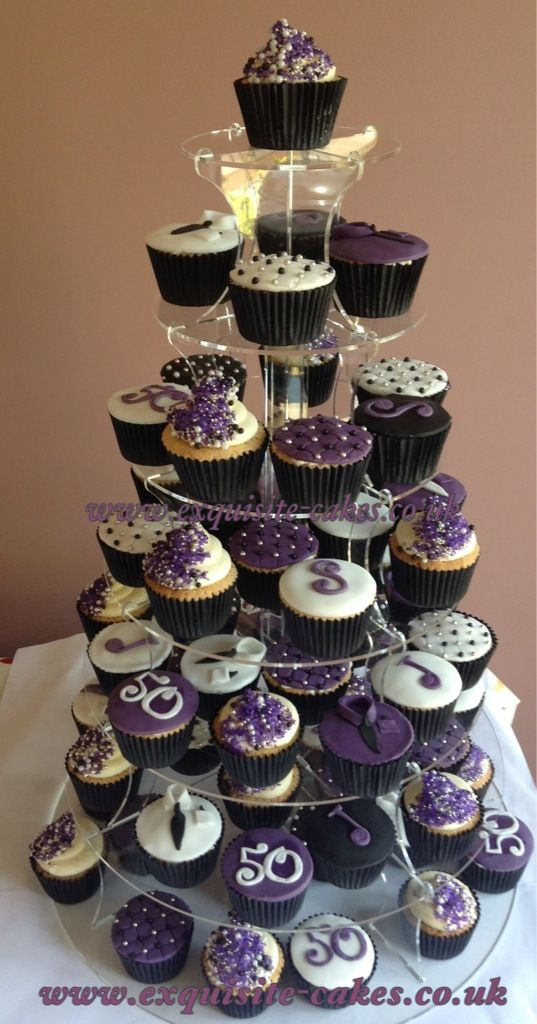 Purple Cupcakes For A Mans 50th Birthday Cupxakes