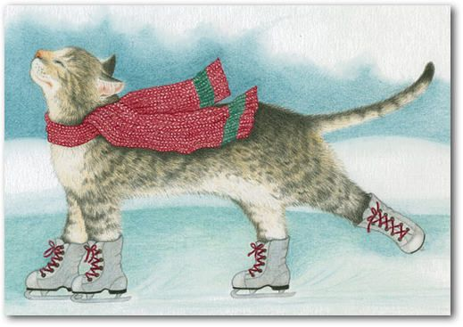 Boxed Ice Skating Cat Christmas Cards WINTER BLISS Baby