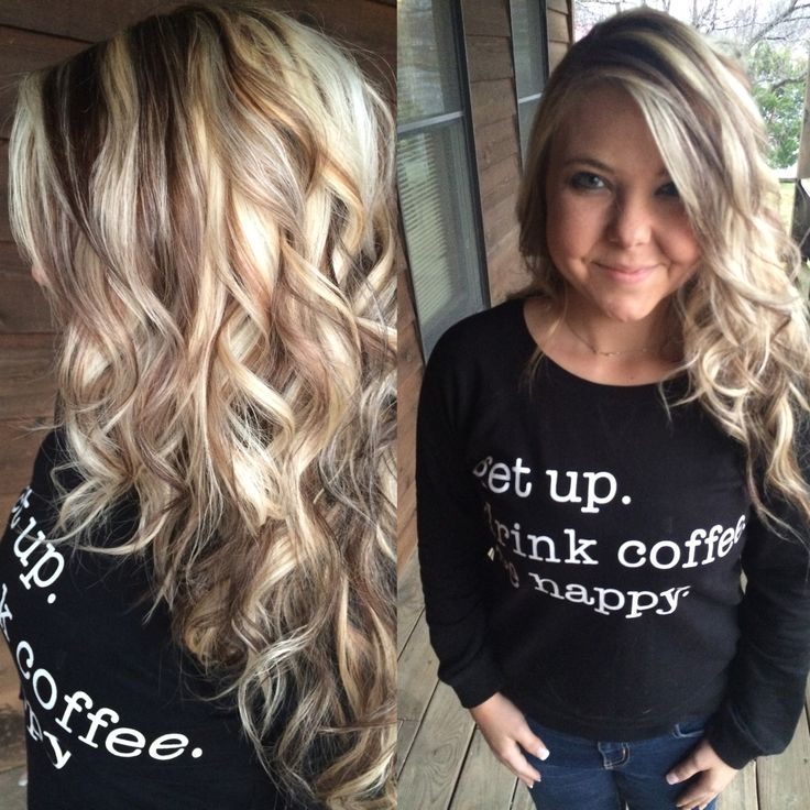 Long Highlighted Blonde Hair With Chunky Dark Lowlights