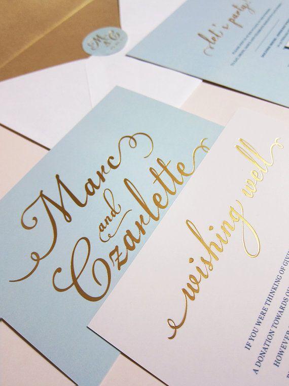 Light Blue With Gold Foil Wedding Invitation Deposit