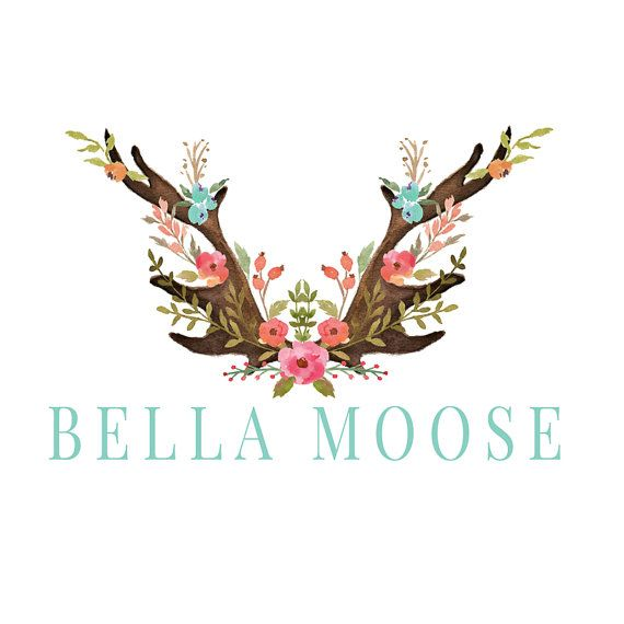 Antlers Logo Design Moose Logo Deer Logo Watercolor