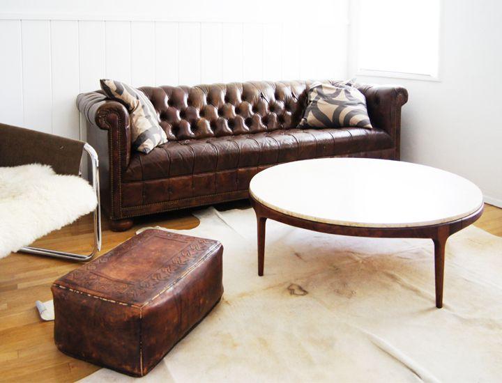 Big Round Leather Ottoman