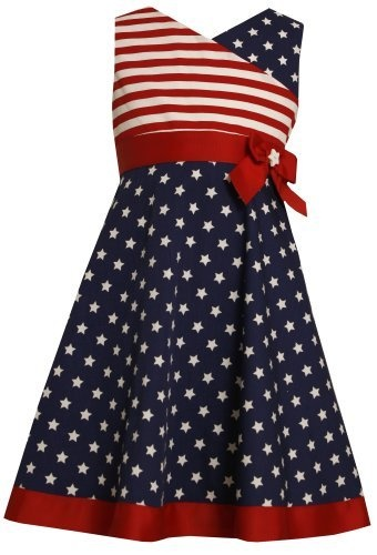 Bonnie Jean LITTLE GIRLS 4 6X RED WHITE BLUE CROSSOVER
