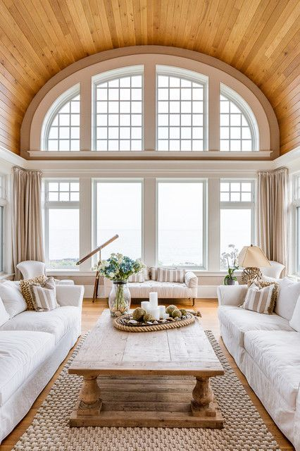 Beautiful Living Room Wooden Barrel Vaulted Ceiling White