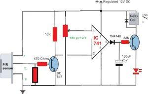 Simple Circuit Diagram using PIR Sensor (PIR = SENZOR