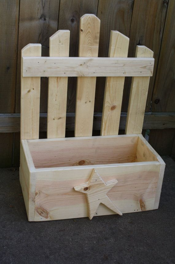 Hand Made Primitive Wooden Picket Fence PLANTER BOX Wood Douglas Fir Custom Colors Sizes