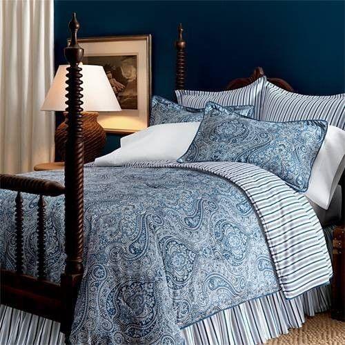 Ralph Lauren Townsend Blue Paisley King Comforter New