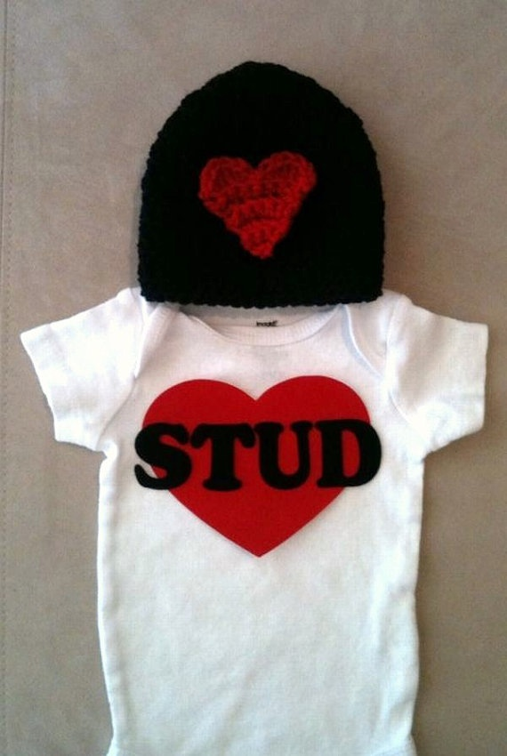 Valentines Day Outfit For Baby Boys Stud Onesie By