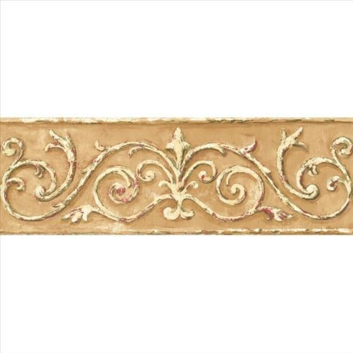 acanthus scroll architectural gold wallpaper border hint on border wall id=90588