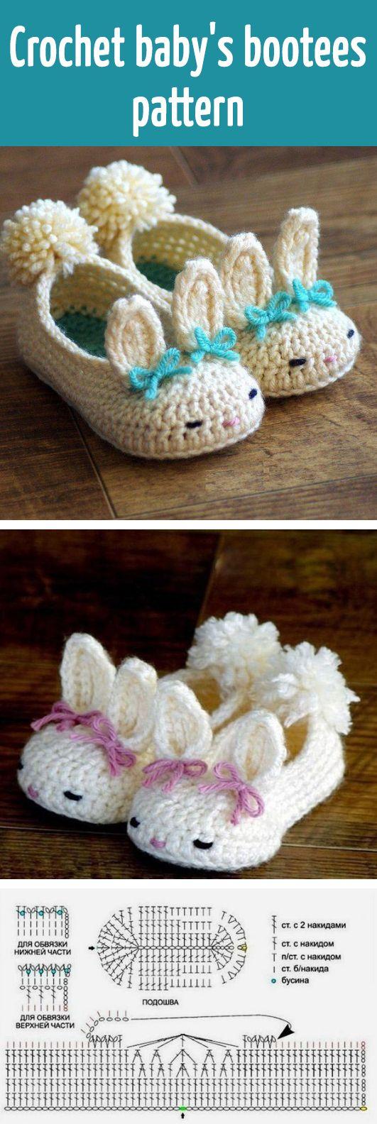 Crochet babys bootees pattern
