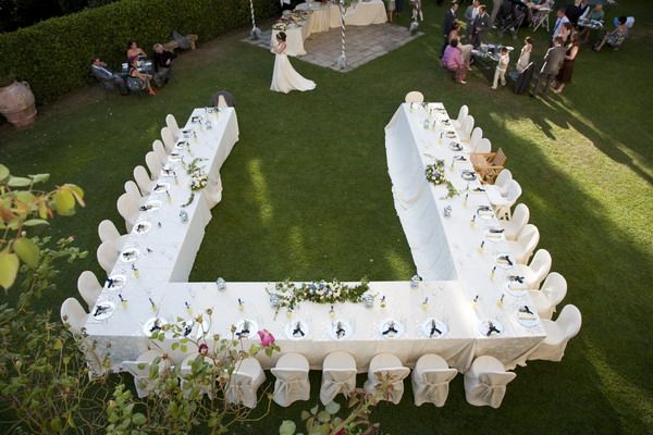 U Shaped Table Setting For Wedding. Everyone Can See The
