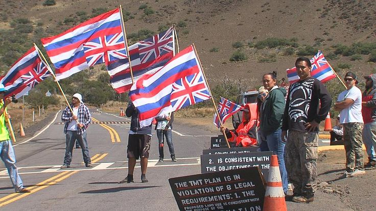 Kanaka Oiwi And Kanaka Of Hawaii Supporting Native Hawaiians Are Protesting TMT And The