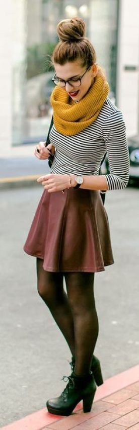 This burgundy skirt, striped shirt and yellow scarf are the perfect colors for Thanksgiving!