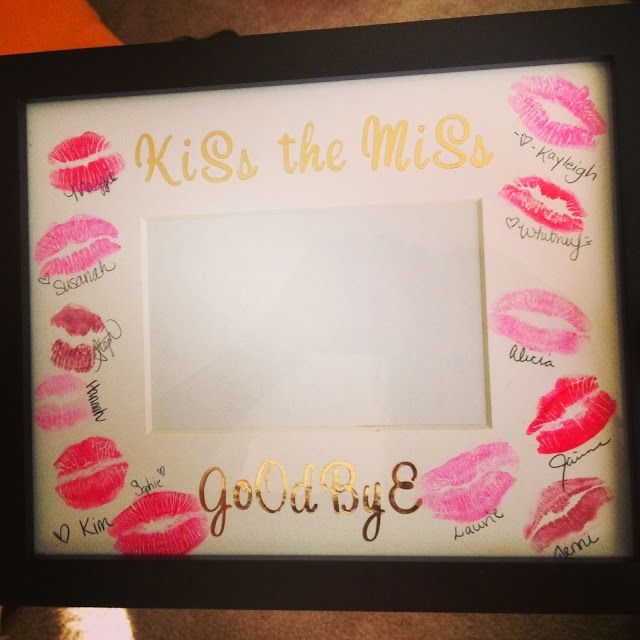 Love This!! Cheap and easy DIY bachelorette party gift: plain mat with stickers, guests apply lipstick, kiss and