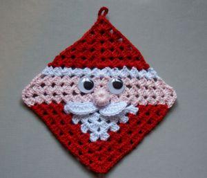 free crochet santa claus granny square  hot pad diagram