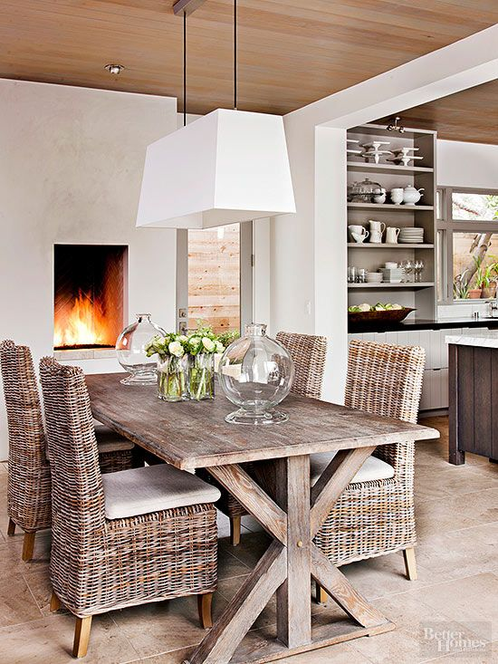 Add Farmhouse Style To Your Home Modern Trestle Table And Fireplaces