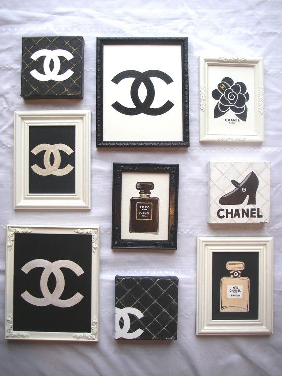 Original Artist Painting Coco Chanel Cc Designer Framed Canvas Panel Paris Shabby Chic 75 00