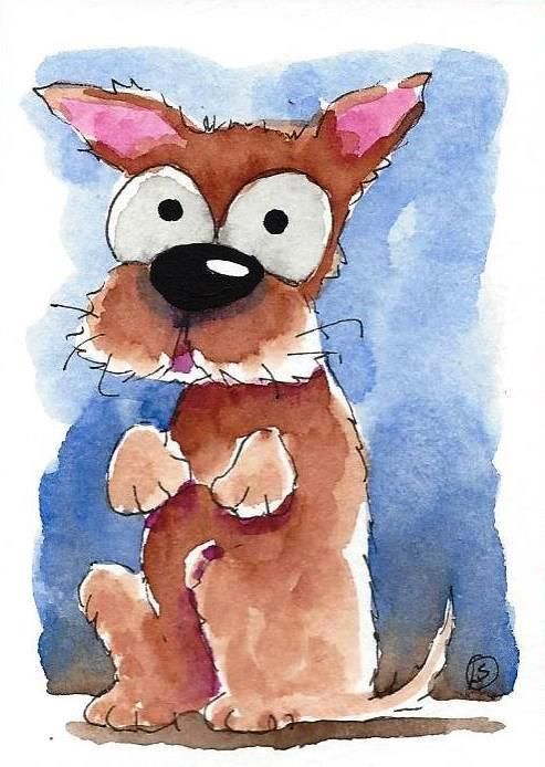 ACEO Original Watercolor Art Whimsical Animal Painting Dog