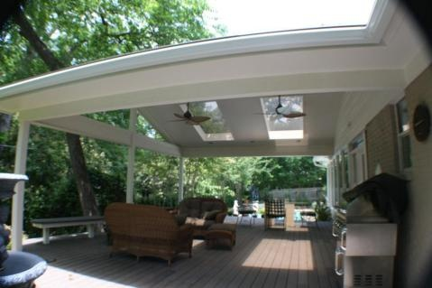 cover idea patio design White patio cover with skylights and ceiling fans