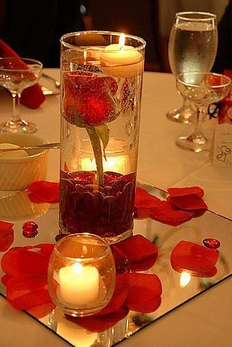 White and Gold Wedding. Centerpiece Idea: 1 rose stem,water,decorative stones/arcylic stones,floating candle,volatile