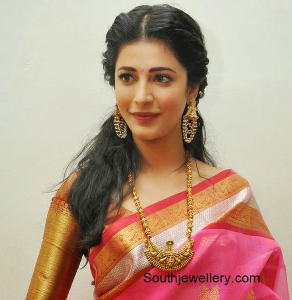 Shruti Hassan in a silk saree and blouse. Love the big ...