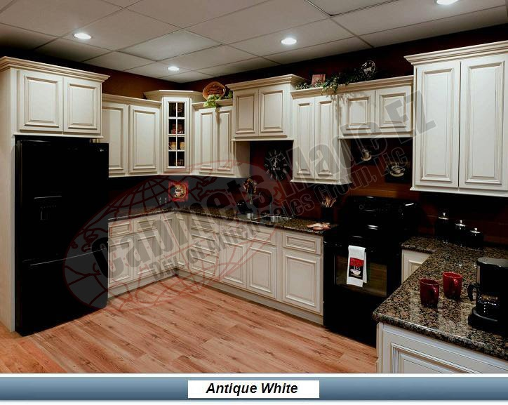 White Glazed Cabinets With Black Appliances