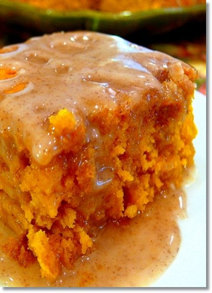 Pumpkin Cake with Apple Cider Glaze…..super easy yellow cake mix and can of pumpkin, glaze is 3 ingredie