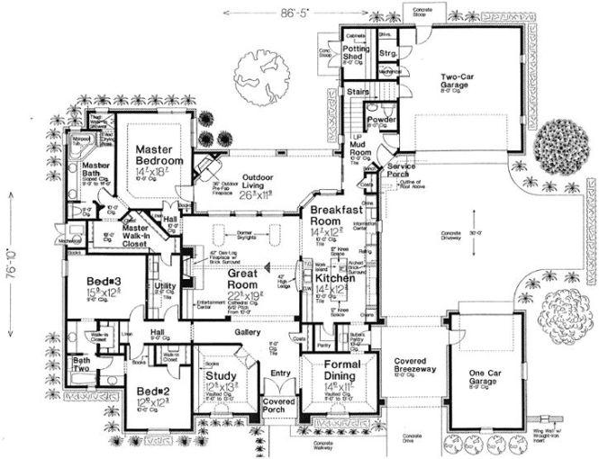 Main Floor Plan 2957 One Story Porte Cochere Monsterhouseplans