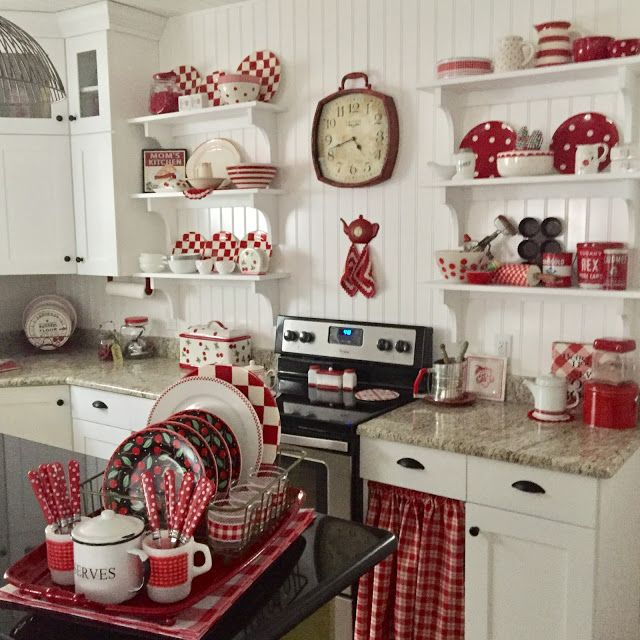 Open Shelving Kitchen Ideas Red Decor Vintage