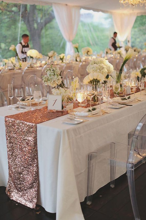 Blush Rose Gold Sequin Table Runner by CandyCrushEvents on Etsy