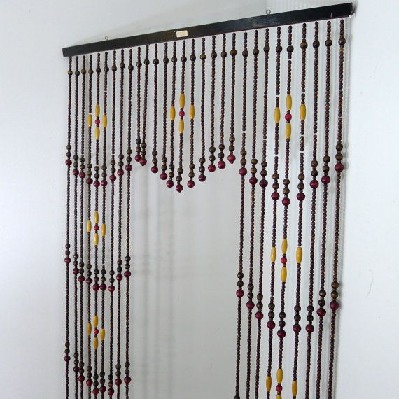 Vintage Wooden Bead Curtain Beaded Curtain Room Divider Hanging Beads Strands Of Beads Mod