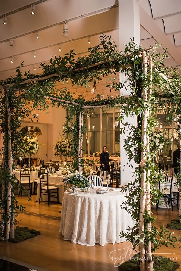 Bringing The Garden Indoors A Canopy Of Green For The Bride And Groom S Sweetheart Table