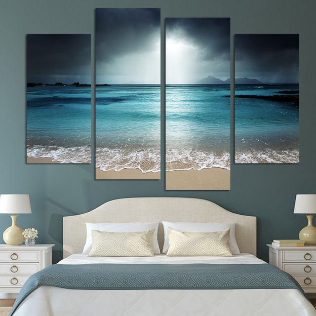 4 Panel Modern Wall Art Home Decoration Painting Canvas Prints Pictures Sea Scenery With