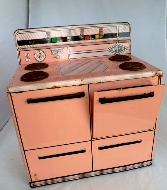 1950s Childs Toy Stove By Wolverine Pink And Black