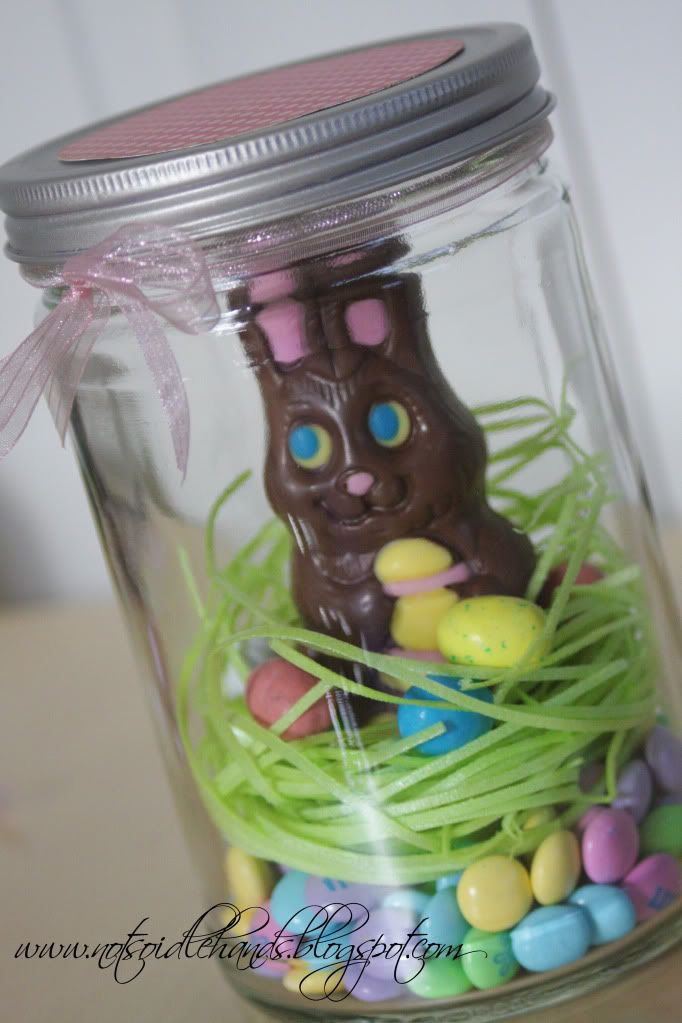 Adorable = Mason jar, chocolate bunny, easter grass (edible), m, and malt eggs.