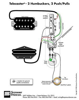 Tele Wiring Diagram, 2 humbuckers, 2 pushpulls   Telecaster Build   Pinterest